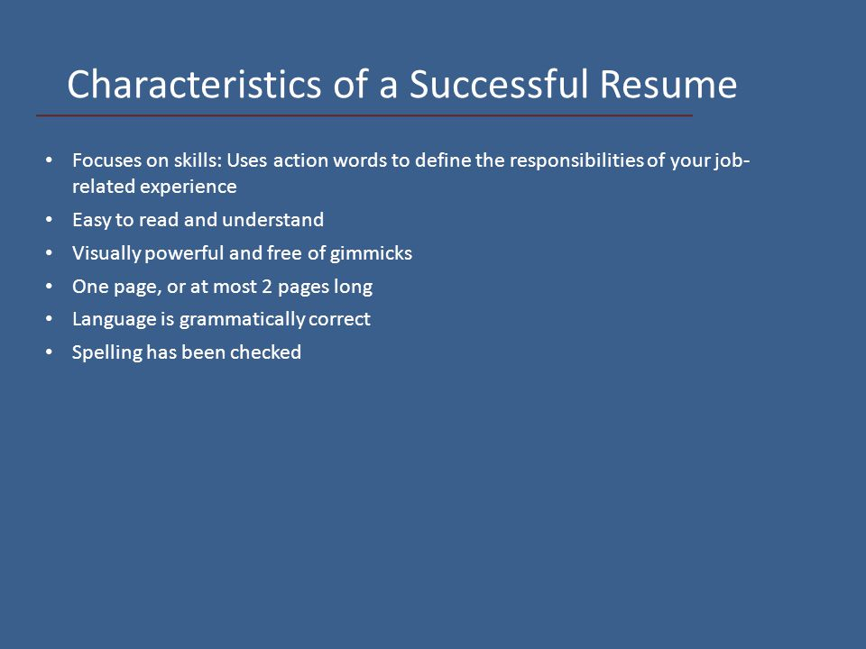 4 Characteristics ...  Correct Spelling Of Resume