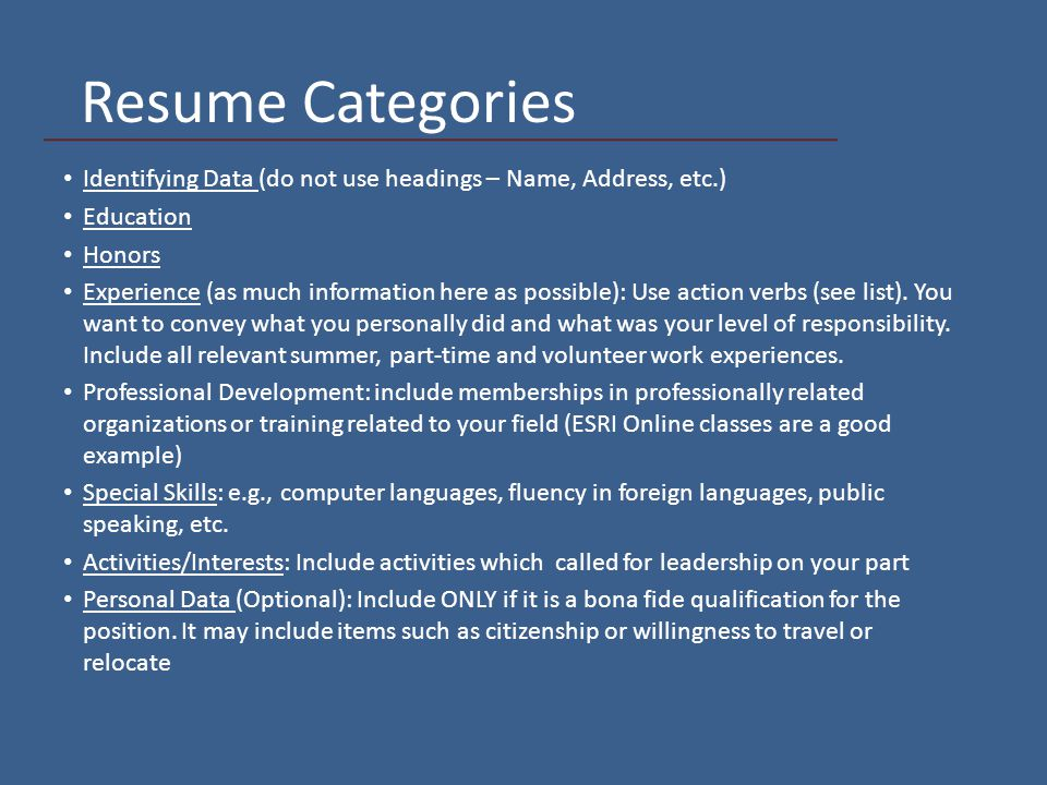 Writing a Resume Geography 494 Internship. Overview Preparation ...