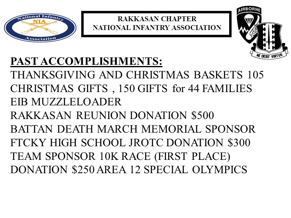 RAKKASAN CHAPTER NATIONAL INFANTRY ASSOCIATION PAST ACCOMPLISHMENTS: THANKSGIVING AND CHRISTMAS BASKETS 105 CHRISTMAS GIFTS, 150 GIFTS for 44 FAMILIES EIB MUZZLELOADER RAKKASAN REUNION DONATION $500 BATTAN DEATH MARCH MEMORIAL SPONSOR FTCKY HIGH SCHOOL JROTC DONATION $300 TEAM SPONSOR 10K RACE (FIRST PLACE) DONATION $250 AREA 12 SPECIAL OLYMPICS