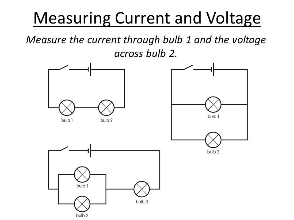 Measuring Current and Voltage Measure the current through bulb 1 and the voltage across bulb 2.