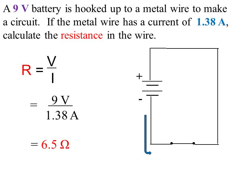 A 9 V battery is hooked up to a metal wire to make a circuit.