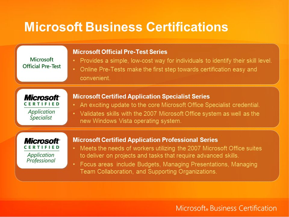 Microsoft Business Certifications Microsoft Official Pre-Test Series Provides a simple, low-cost way for individuals to identify their skill level.