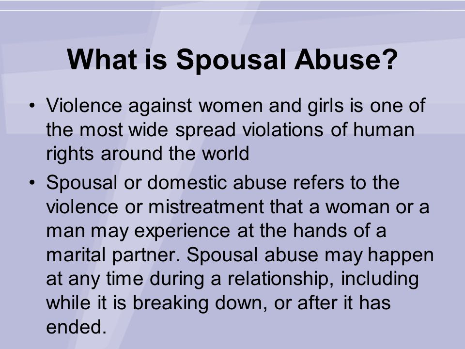 What is Spousal Abuse.