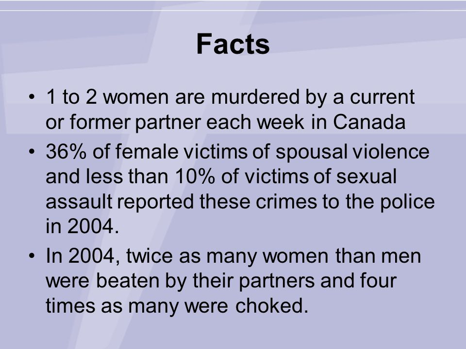 Facts 1 to 2 women are murdered by a current or former partner each week in Canada 36% of female victims of spousal violence and less than 10% of victims of sexual assault reported these crimes to the police in 2004.