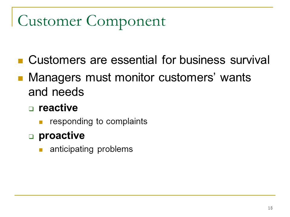 18 Customer Component Customers are essential for business survival Managers must monitor customers' wants and needs  reactive responding to complaints  proactive anticipating problems
