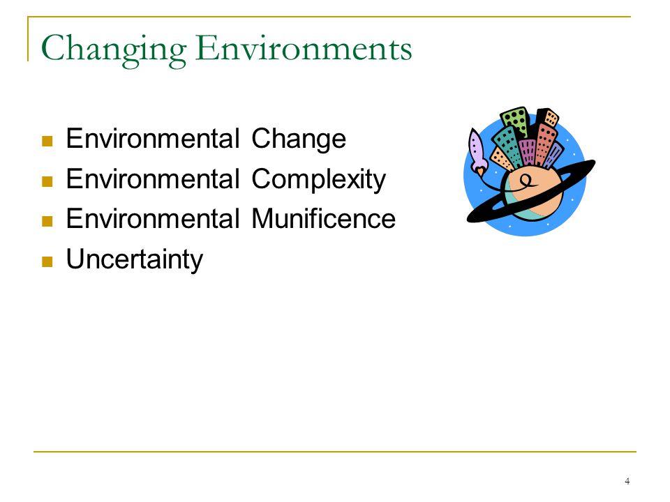 4 Changing Environments Environmental Change Environmental Complexity Environmental Munificence Uncertainty