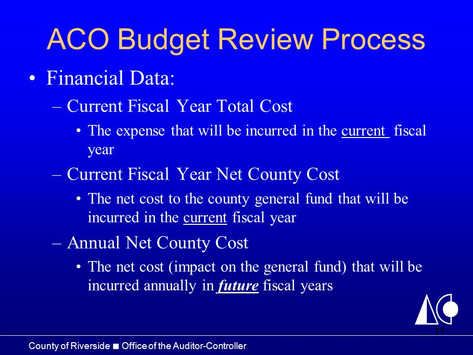 County of Riverside □ Office of the Auditor-Controller ACO ...
