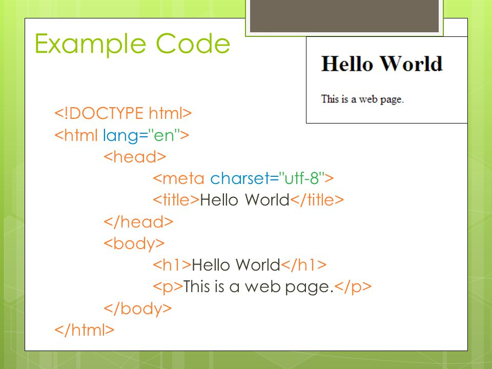 Example Code Hello World Hello World This is a web page.
