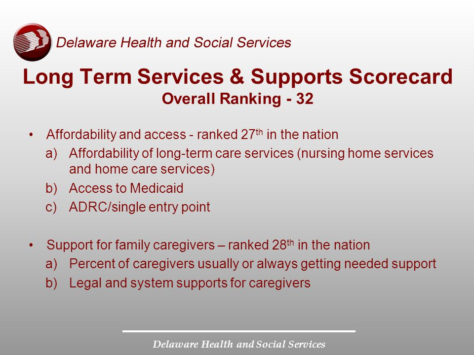 Delaware Health and Social Services Long Term Services & Supports Scorecard Overall Ranking - 32 Affordability and access - ranked 27 th in the nation a)Affordability of long-term care services (nursing home services and home care services) b)Access to Medicaid c)ADRC/single entry point Support for family caregivers – ranked 28 th in the nation a)Percent of caregivers usually or always getting needed support b)Legal and system supports for caregivers