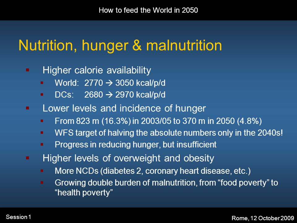 How to feed the World in 2050 Rome, 12 October 2009 Session 1 Nutrition, hunger & malnutrition  Higher calorie availability  World: 2770  3050 kcal/p/d  DCs: 2680  2970 kcal/p/d  Lower levels and incidence of hunger  From 823 m (16.3%) in 2003/05 to 370 m in 2050 (4.8%)  WFS target of halving the absolute numbers only in the 2040s.