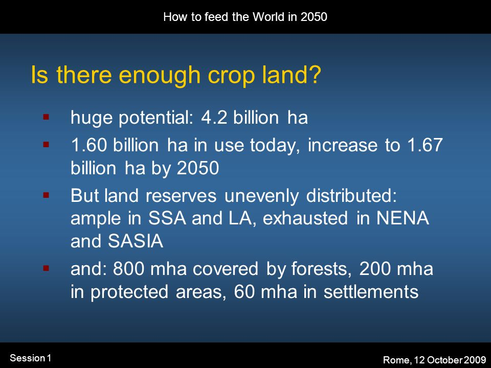 How to feed the World in 2050 Rome, 12 October 2009 Session 1 Is there enough crop land.