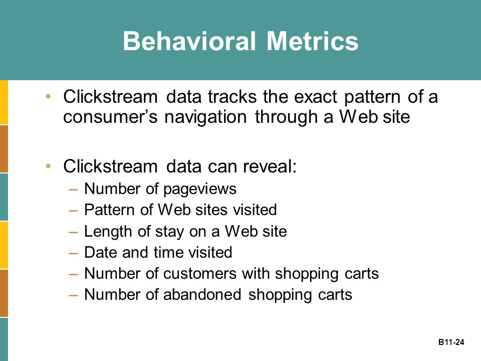 B11-24 Behavioral Metrics Clickstream data tracks the exact pattern of a consumer's navigation through a Web site Clickstream data can reveal: –Number