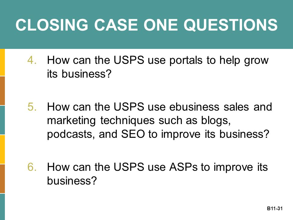 B11-31 CLOSING CASE ONE QUESTIONS 4.How can the USPS use portals to help grow its business? 5.How can the USPS use ebusiness sales and marketing techn
