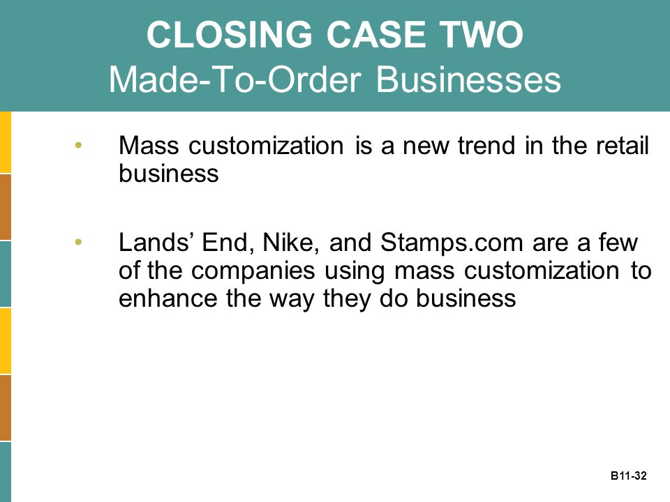 B11-32 CLOSING CASE TWO Made-To-Order Businesses Mass customization is a new trend in the retail business Lands' End, Nike, and Stamps.com are a few o