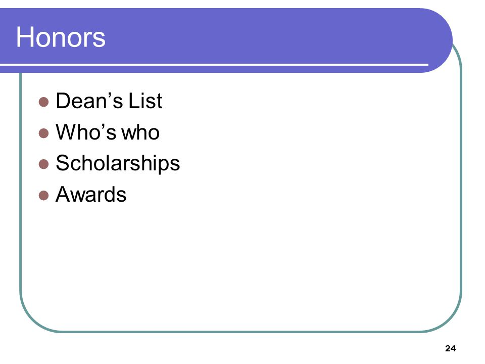 24 Honors Dean's List Who's who Scholarships Awards
