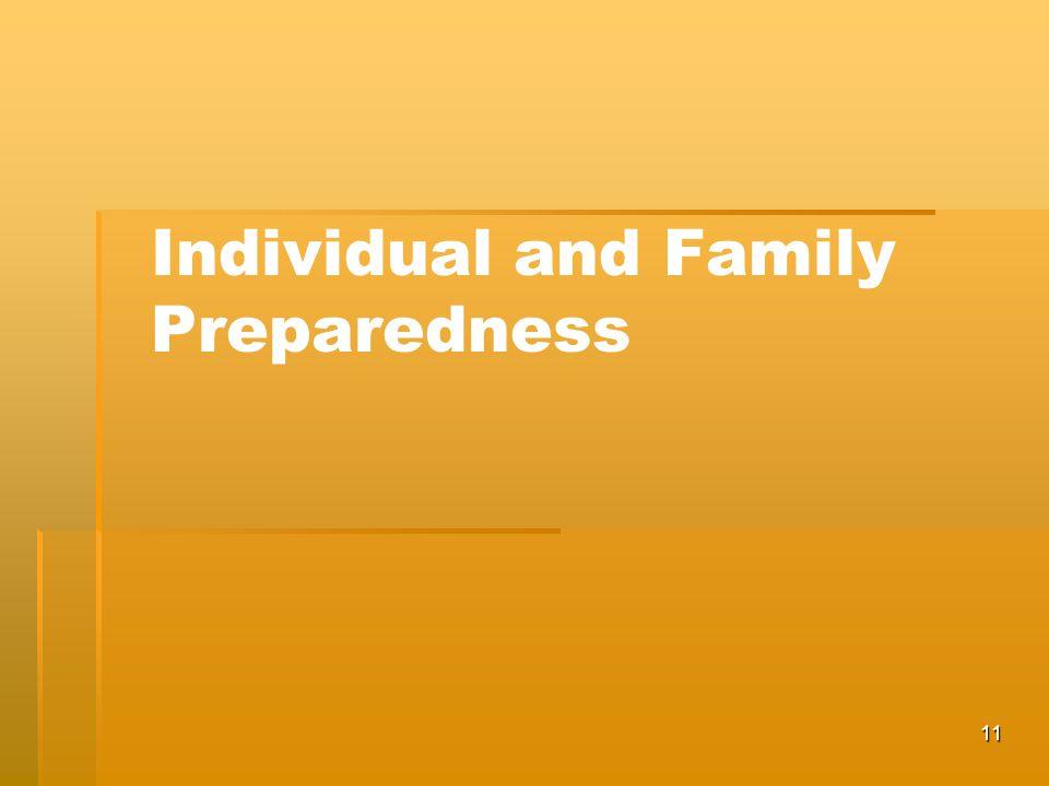 11 Individual and Family Preparedness