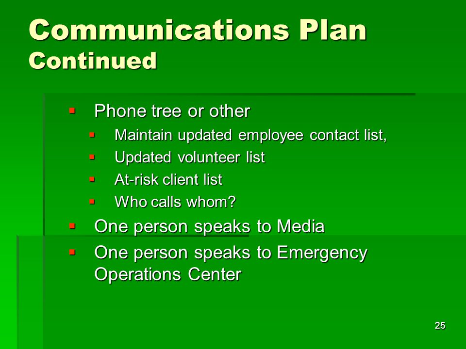 25 Communications Plan Continued  Phone tree or other  Maintain updated employee contact list,  Updated volunteer list  At-risk client list  Who calls whom.