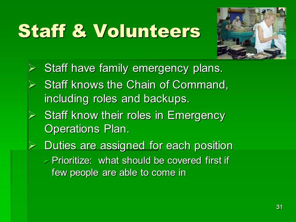 31 Staff & Volunteers  Staff have family emergency plans.