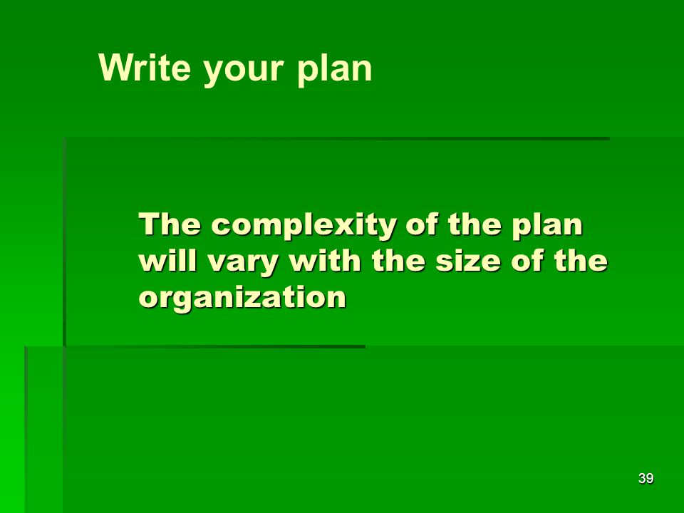39 The complexity of the plan will vary with the size of the organization Write your plan