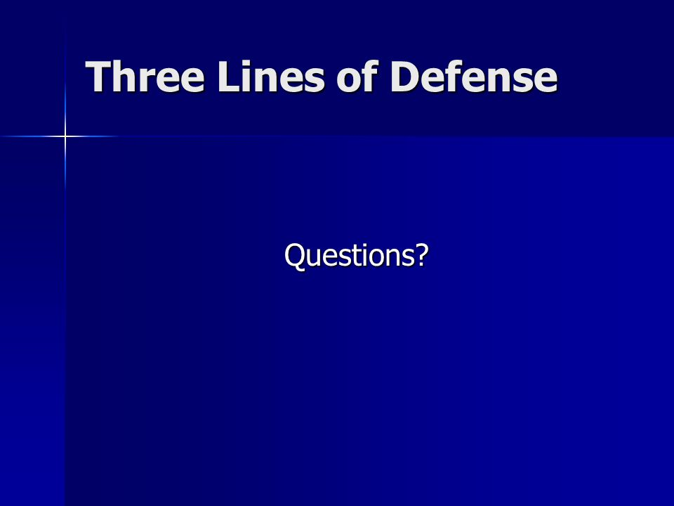Three Lines of Defense Questions