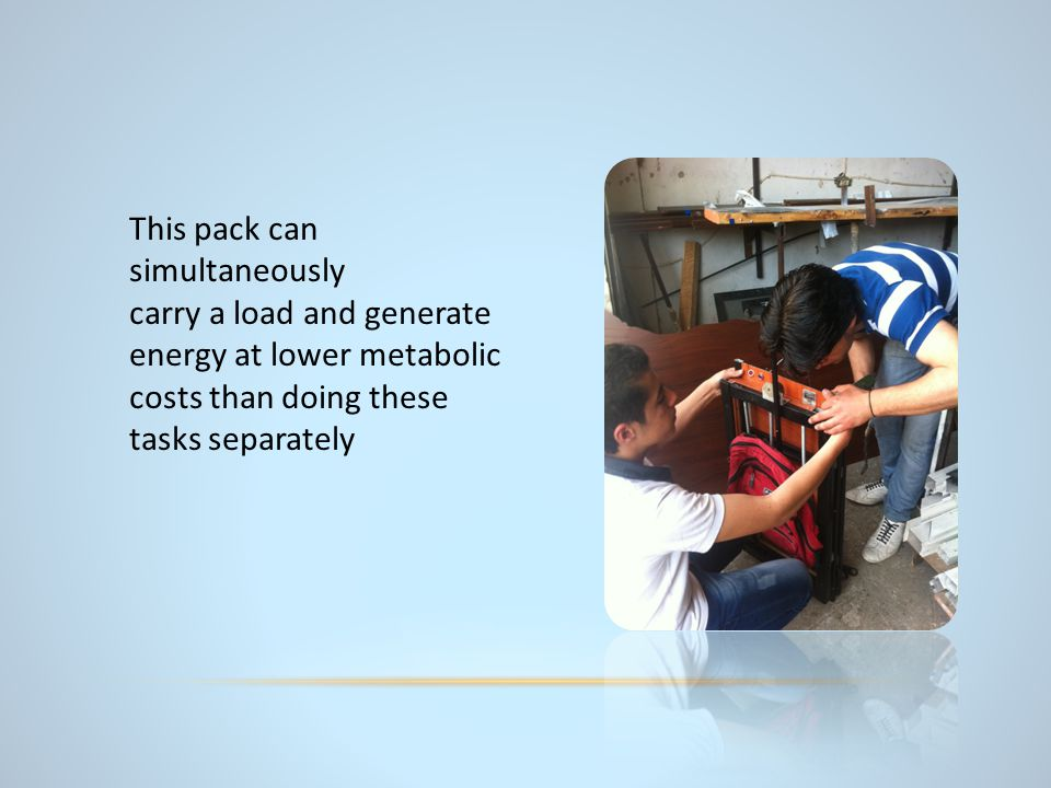 This pack can simultaneously carry a load and generate energy at lower metabolic costs than doing these tasks separately