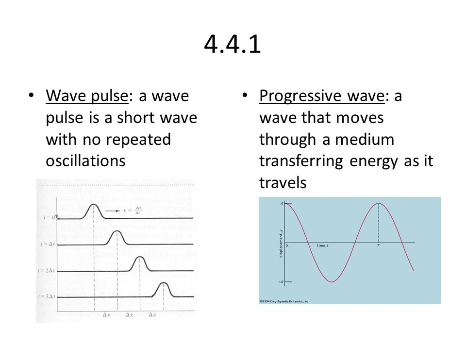 4.4.1 Wave pulse: a wave pulse is a short wave with no repeated oscillations Progressive wave: a wave that moves through a medium transferring energy as it travels