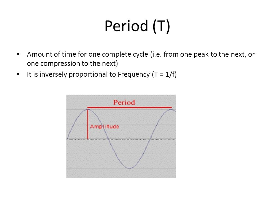 Period (T) Amount of time for one complete cycle (i.e.
