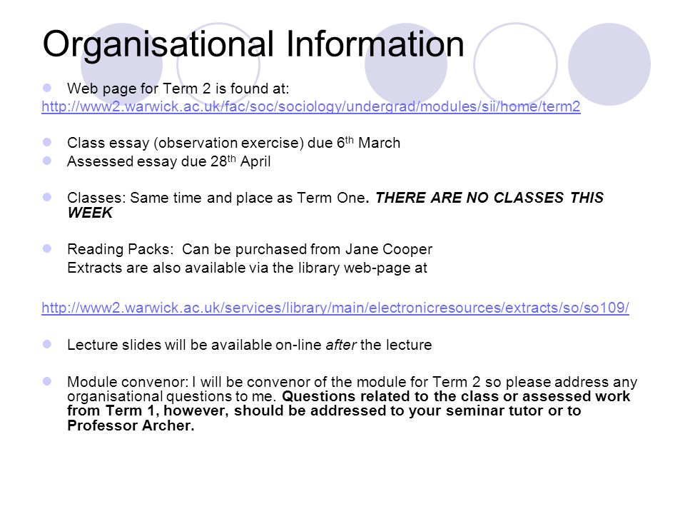 sociological imagination and investigation lecture from  2 organisational information web page for term 2 is found at 2 warwick ac uk fac soc sociology undergrad modules sii home term2 class essay