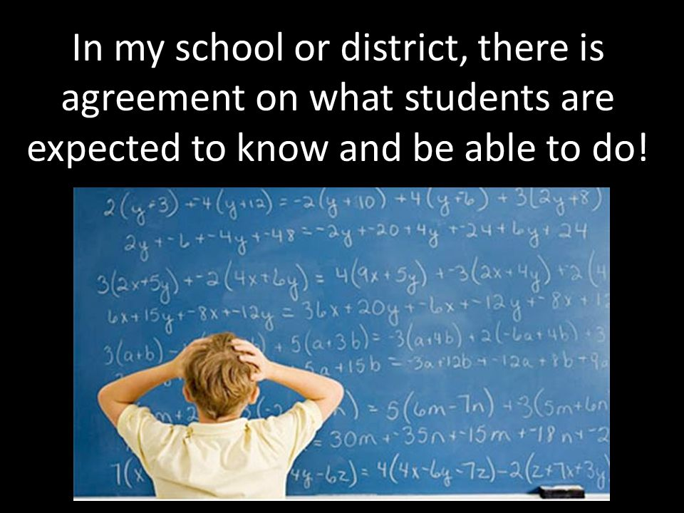 In my school or district, there is agreement on what students are expected to know and be able to do!