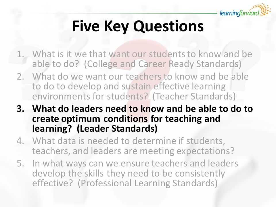 Five Key Questions 1.What is it we that want our students to know and be able to do.