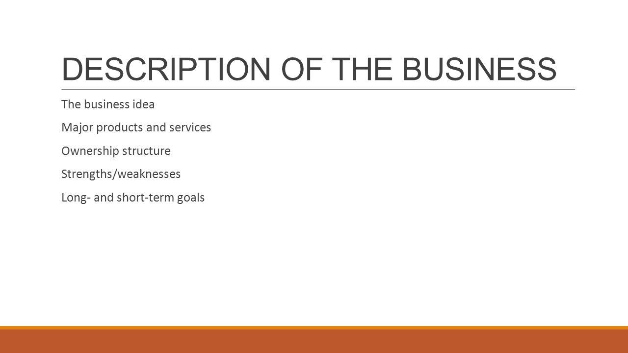 Business description in a business plan