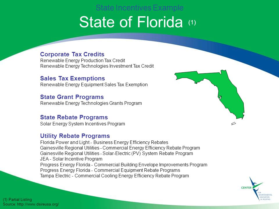 Corporate Tax Credits Renewable Energy Production Tax Credit Renewable Energy Technologies Investment Tax Credit Sales Tax Exemptions Renewable Energy Equipment Sales Tax Exemption State Grant Programs Renewable Energy Technologies Grants Program State Rebate Programs Solar Energy System Incentives Program Utility Rebate Programs Florida Power and Light - Business Energy Efficiency Rebates Gainesville Regional Utilities - Commercial Energy Efficiency Rebate Program Gainesville Regional Utilities - Solar-Electric (PV) System Rebate Program JEA - Solar Incentive Program Progress Energy Florida - Commercial Building Envelope Improvements Program Progress Energy Florida - Commercial Equipment Rebate Programs Tampa Electric - Commercial Cooling Energy Efficiency Rebate Program State Incentives Example State of Florida (1) (1) Partial Listing Source: