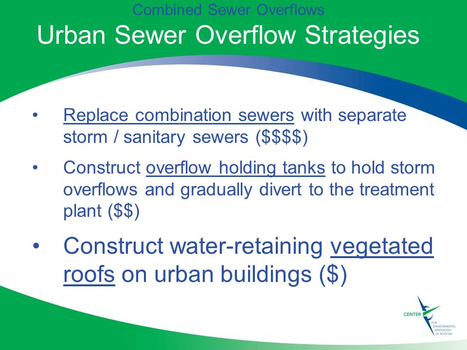 Combined Sewer Overflows Urban Sewer Overflow Strategies Replace combination sewers with separate storm / sanitary sewers ($$$$) Construct overflow holding tanks to hold storm overflows and gradually divert to the treatment plant ($$) Construct water-retaining vegetated roofs on urban buildings ($)