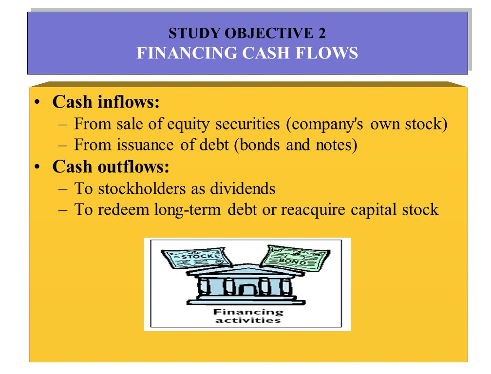 7 Cash inflows: –From sale of equity securities (company s own stock) –From issuance of debt (bonds and notes) Cash outflows: –To stockholders as dividends –To redeem long-term debt or reacquire capital stock STUDY OBJECTIVE 2 FINANCING CASH FLOWS STUDY OBJECTIVE 2 FINANCING CASH FLOWS