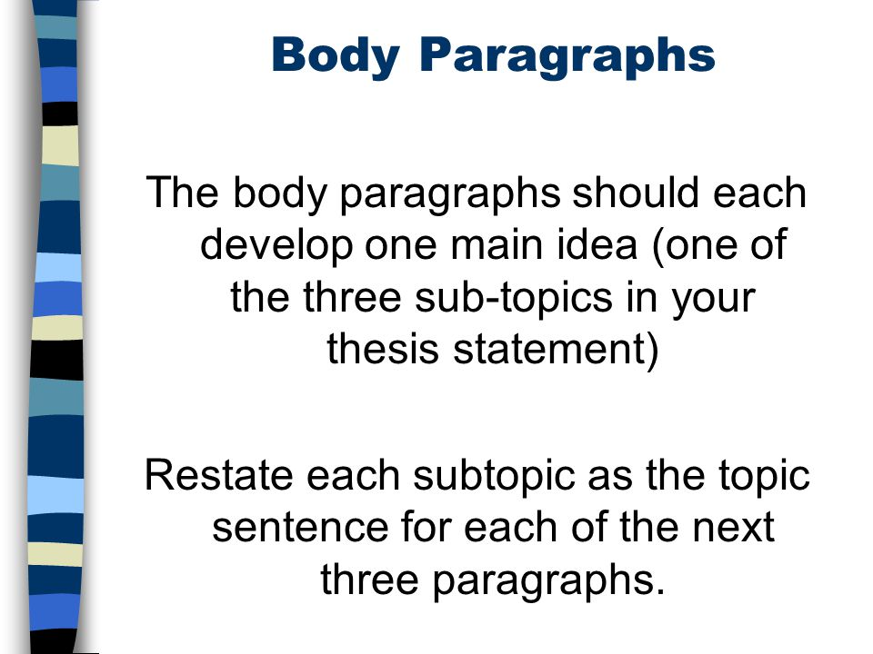 com 156 body paragraphs Body paragraphs the body of your paper must be coherent and well-written to guide readers through the steps of your argument here are some guidelines to help you craft successful body paragraphs.
