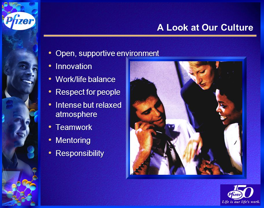 A Look at Our Culture Open, supportive environment Innovation Work/life balance Respect for people Intense but relaxed atmosphere Teamwork Mentoring Responsibility Open, supportive environment Innovation Work/life balance Respect for people Intense but relaxed atmosphere Teamwork Mentoring Responsibility
