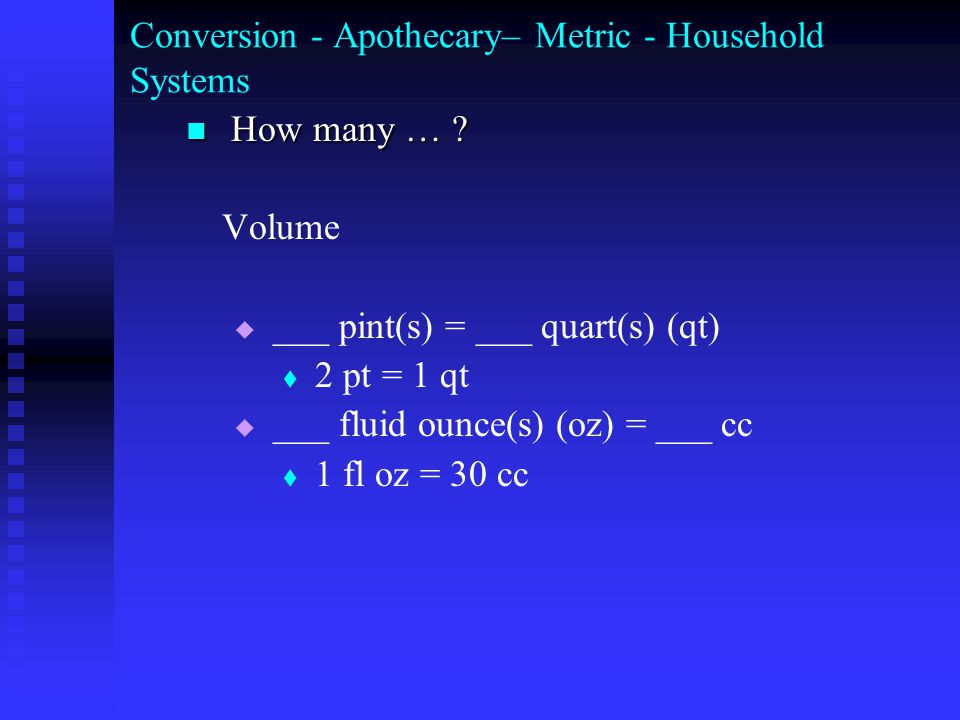 Conversion - Apothecary– Metric - Household Systems How many … .