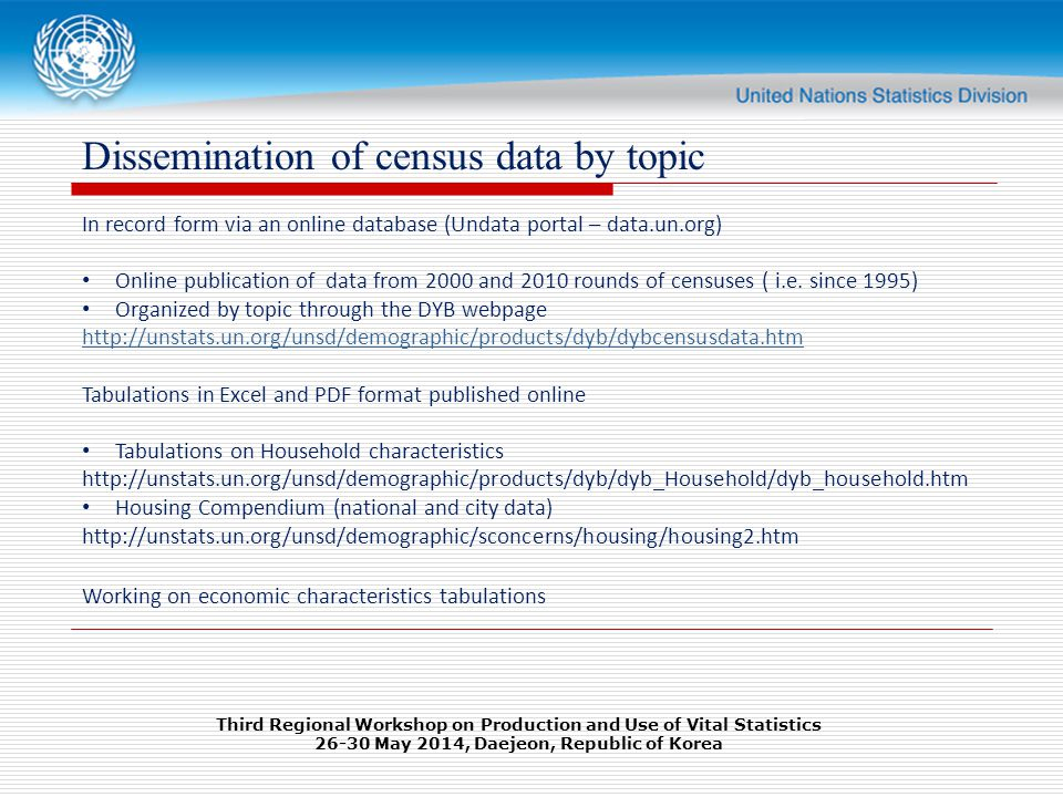 Dissemination of census data by topic In record form via an online database (Undata portal – data.un.org) Online publication of data from 2000 and 2010 rounds of censuses ( i.e.