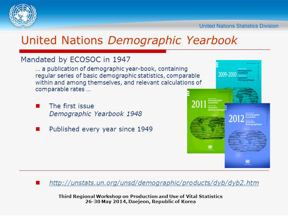 United Nations Demographic Yearbook Mandated by ECOSOC in 1947 … a publication of demographic year-book, containing regular series of basic demographic statistics, comparable within and among themselves, and relevant calculations of comparable rates … The first issue Demographic Yearbook 1948 Published every year since Third Regional Workshop on Production and Use of Vital Statistics May 2014, Daejeon, Republic of Korea