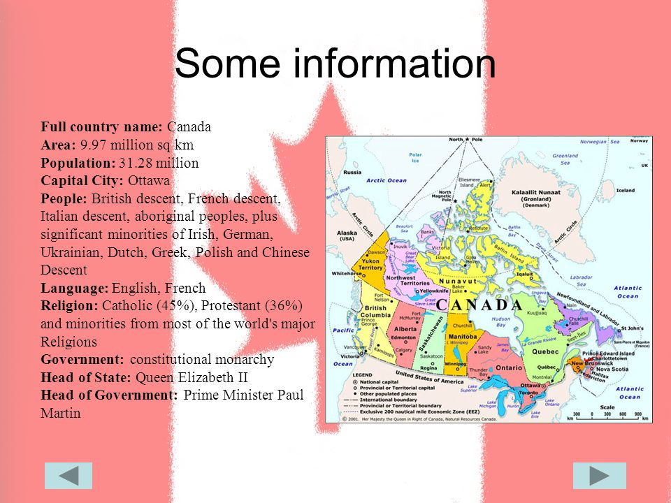 Canada Some Information Full Country Name Canada Area - Country name and capital city