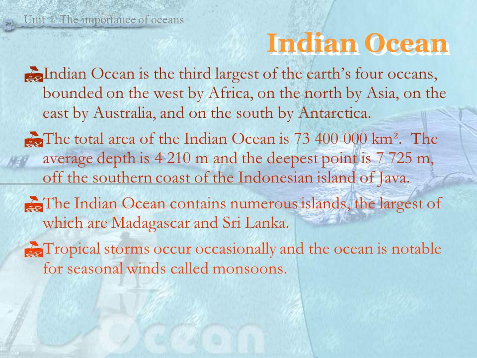 Unit The Importance Of Oceans Unit The Importance Of Oceans - Earth's four oceans