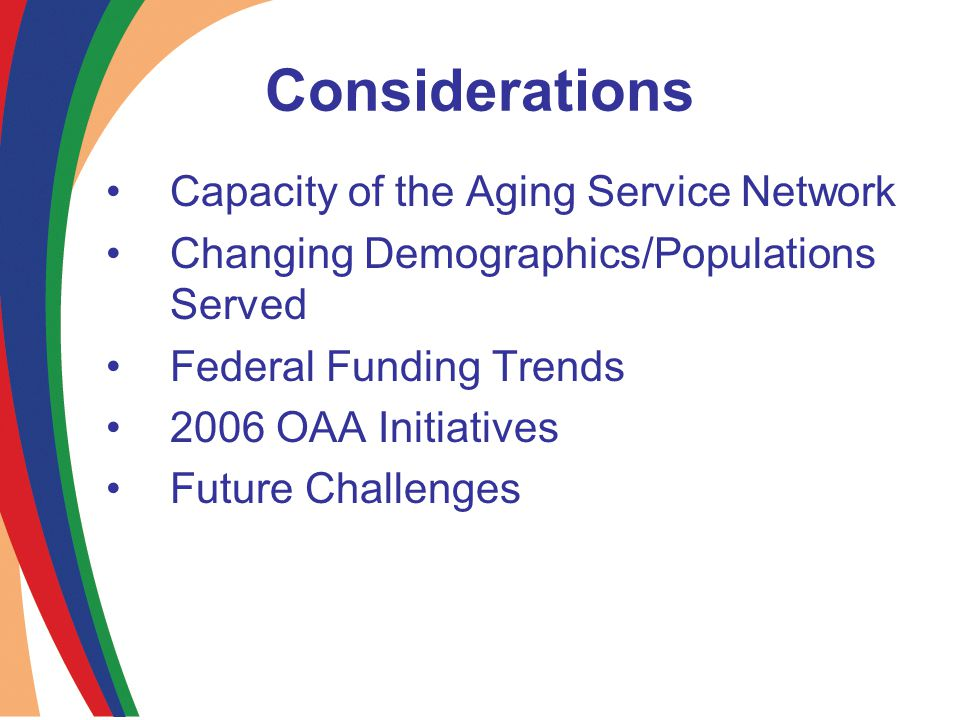 Considerations Capacity of the Aging Service Network Changing Demographics/Populations Served Federal Funding Trends 2006 OAA Initiatives Future Challenges