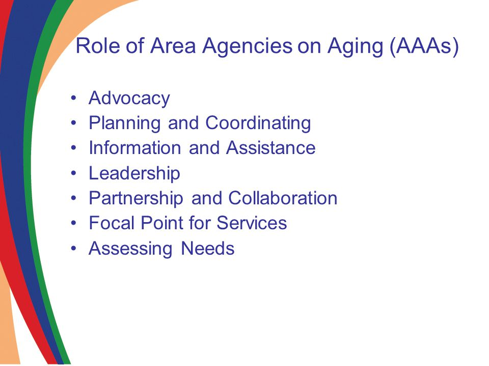 Role of Area Agencies on Aging (AAAs) Advocacy Planning and Coordinating Information and Assistance Leadership Partnership and Collaboration Focal Point for Services Assessing Needs