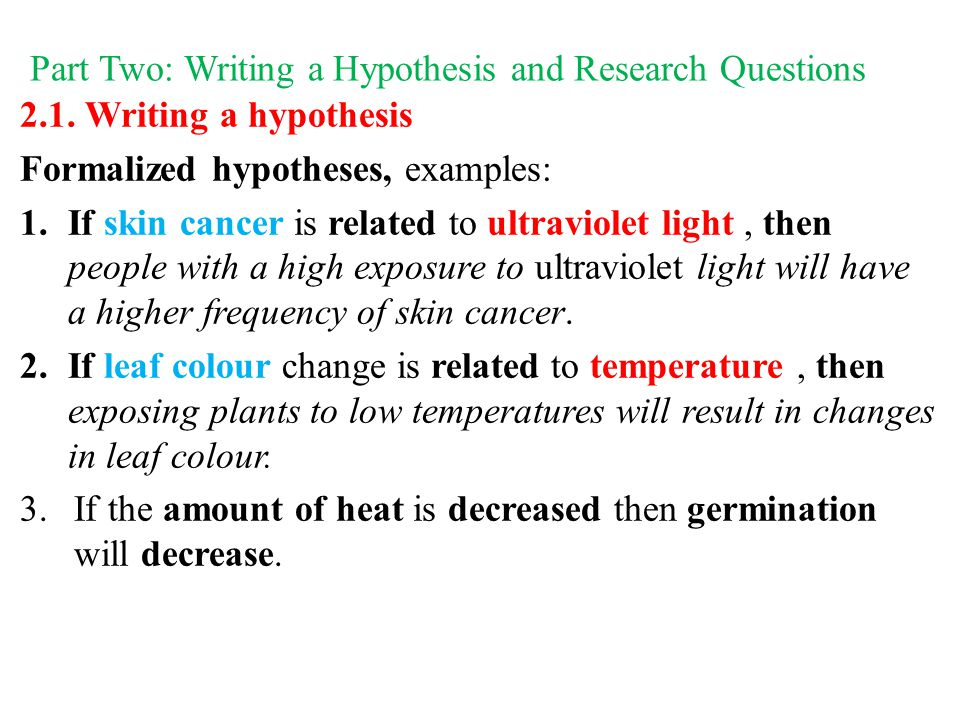 How To Write A Hypothesis For Psychology