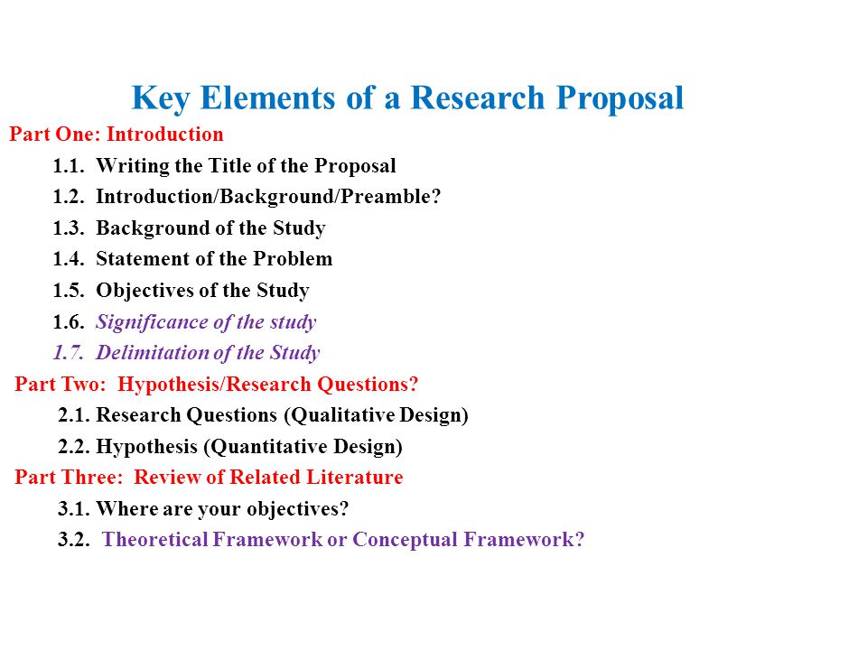 Writing of research proposal
