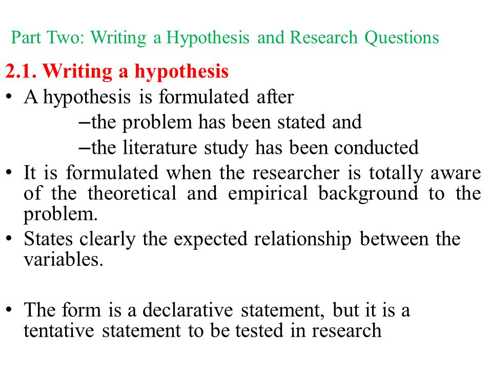 sample hypothesis in research paper Statistical hypothesis testing in academic research papers and master's theses.