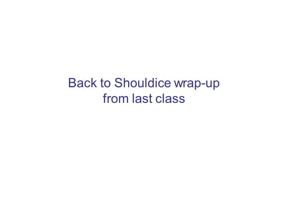 Back to Shouldice wrap-up from last class