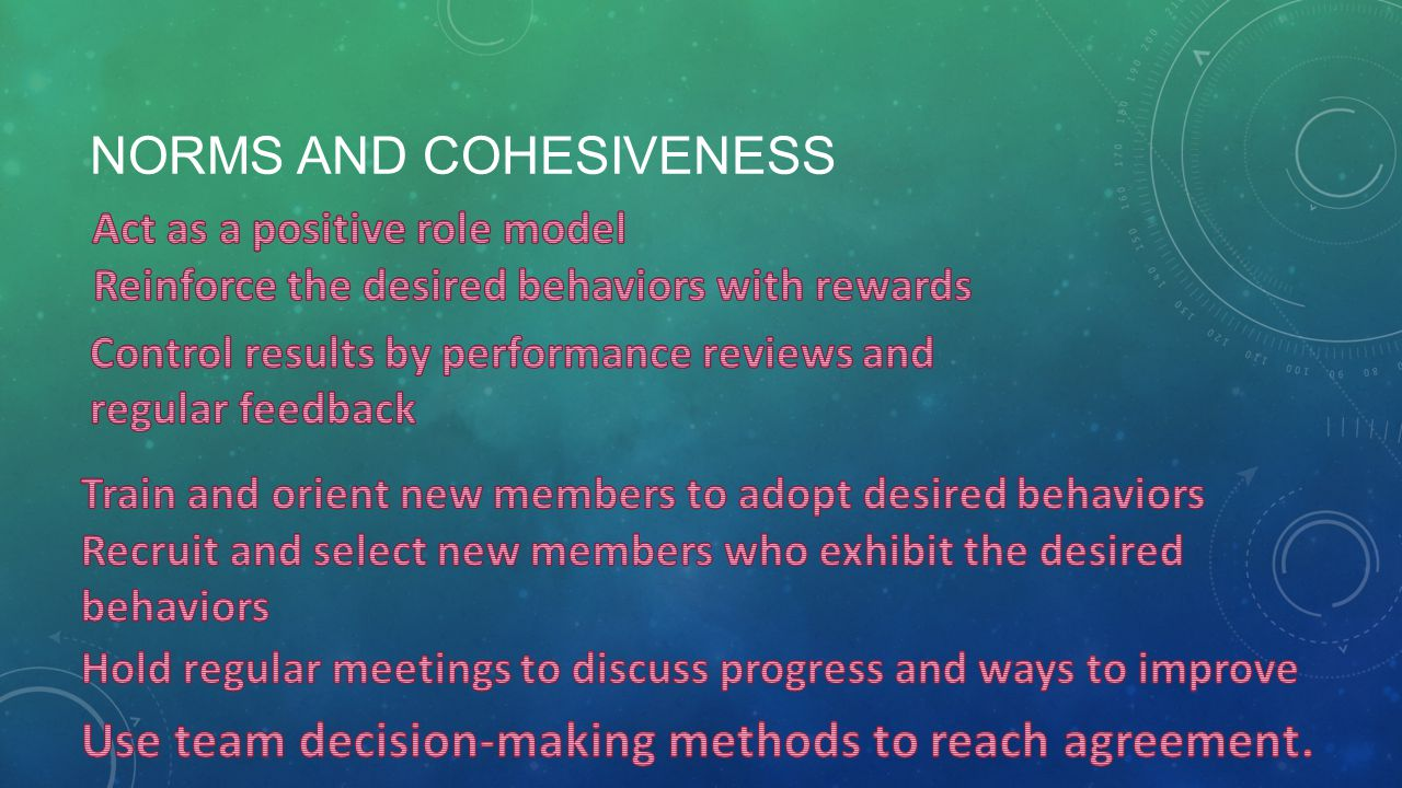NORMS AND COHESIVENESS