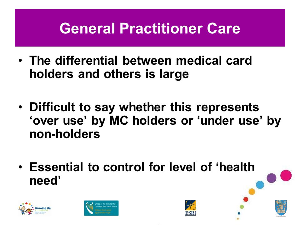General Practitioner Care The differential between medical card holders and others is large Difficult to say whether this represents 'over use' by MC holders or 'under use' by non-holders Essential to control for level of 'health need'