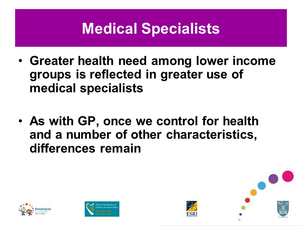 Medical Specialists Greater health need among lower income groups is reflected in greater use of medical specialists As with GP, once we control for health and a number of other characteristics, differences remain